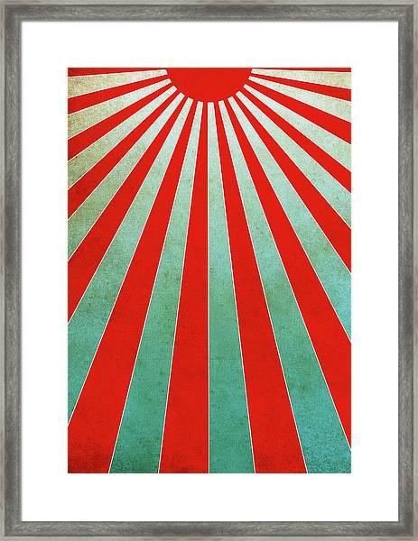 Red Sunbeams Illustration Framed Print