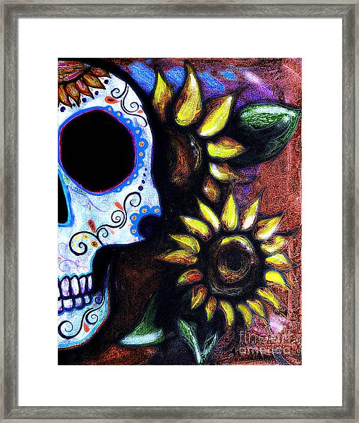 Red Sunflower Skull Framed Print