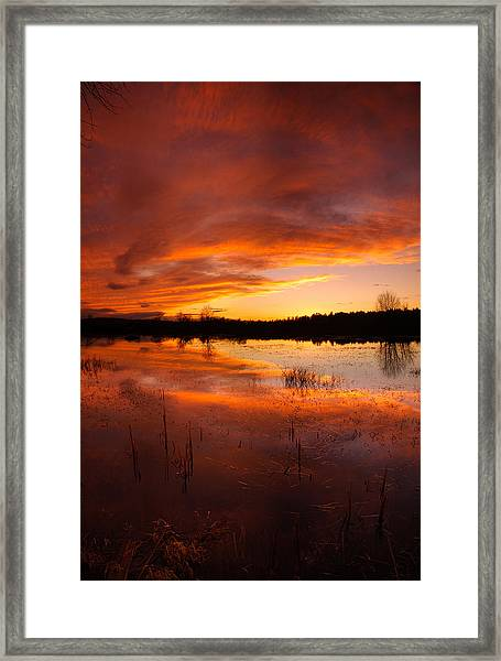Red Sunset Over Massabesic Lake Framed Print by Sebastien Coursol