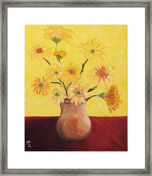 Red Table And Yellow Flowers Framed Print