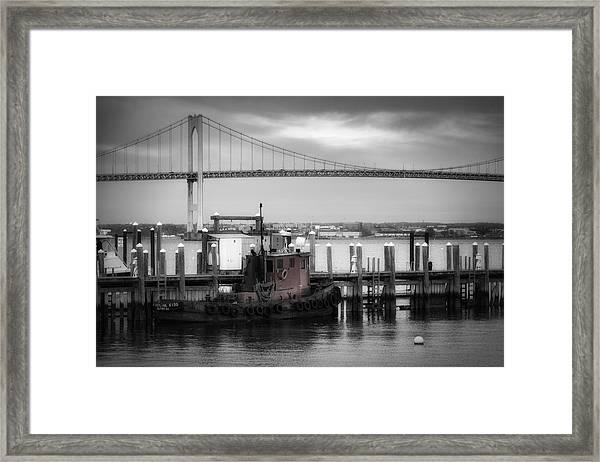 Red Tugboat And Newport Bridge Framed Print