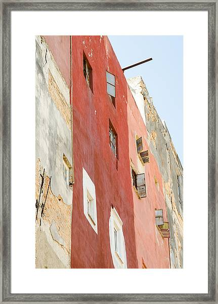 Red Wall In Havana Cuba Framed Print