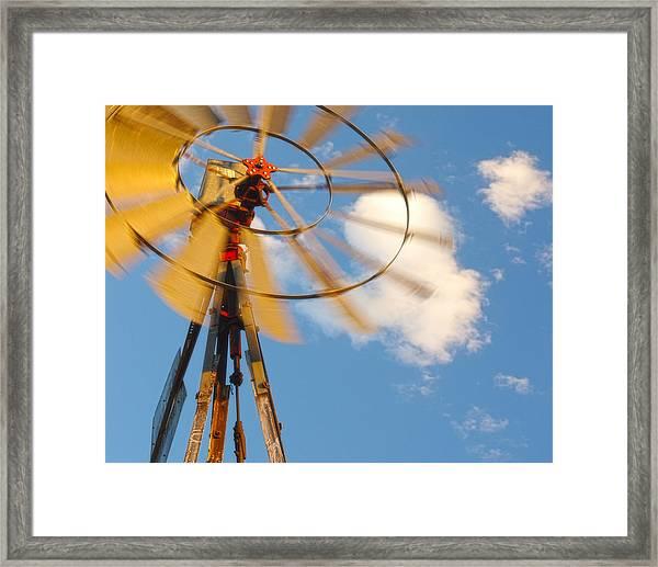 Red Wind Windmill Framed Print