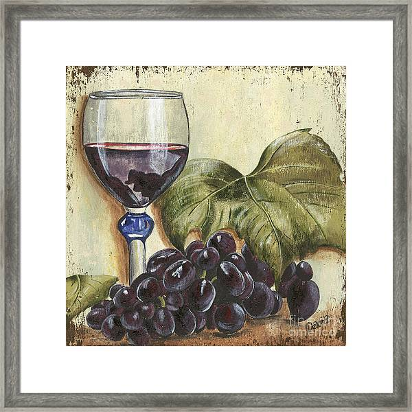 Red Wine And Grape Leaf Framed Print