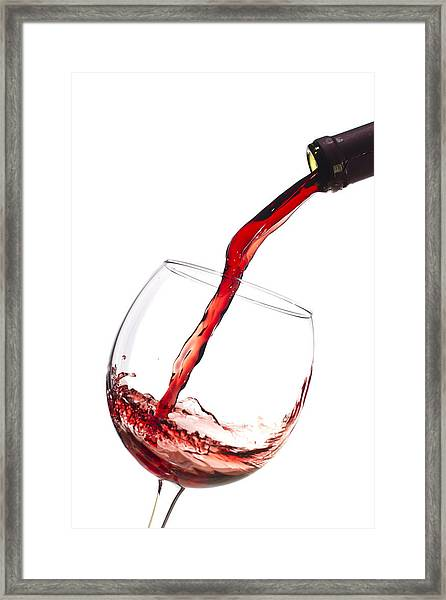 Red Wine Pouring Into Wineglass Splash Framed Print