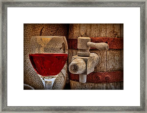 Red Wine With Tapped Keg Framed Print