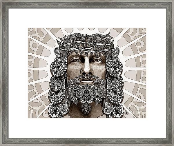 Redeemer - Modern Jesus Iconography - Copyrighted Framed Print