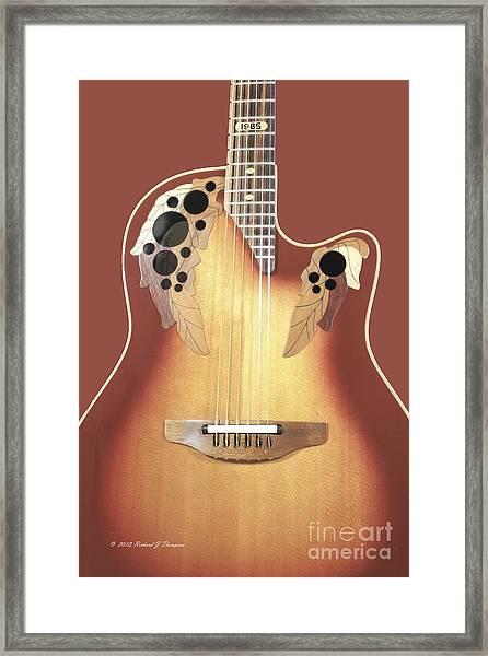 Redish-brown Guitar On Redish-brown Background Framed Print