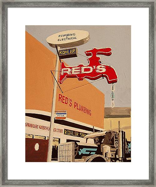 Reds Plumbing Framed Print by Paul Guyer