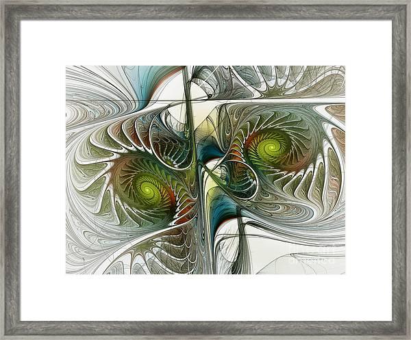 Reflected Spirals Fractal Art Framed Print