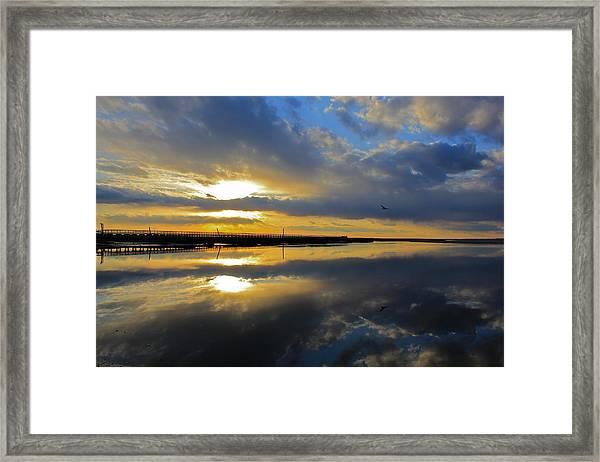 Reflection Grays Beach Boardwalk Framed Print