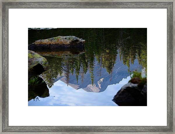 Reflection Of Longs Peak Framed Print