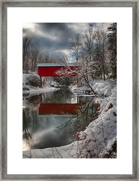 reflection of Slaughterhouse covered bridge Framed Print
