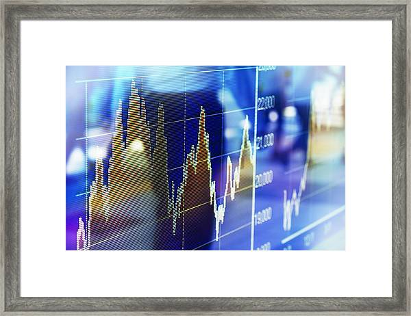 Reflection Of Stock Market Graph In Window Framed Print by Hiroshi Watanabe