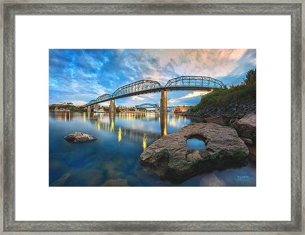 Reflection Rock At Low Water Framed Print
