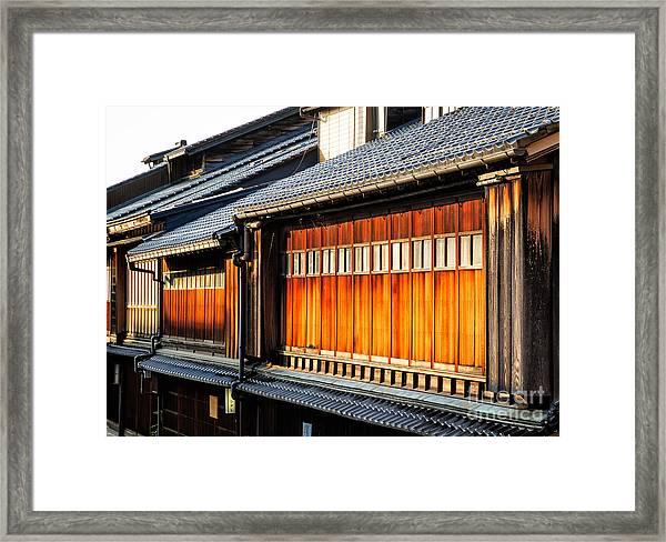 Reflections On Geisha Houses - Kanazawa City - Japan Framed Print