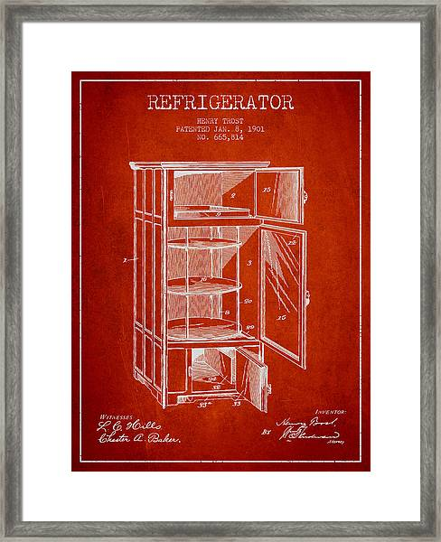Refrigerator Patent From 1901 - Red Framed Print