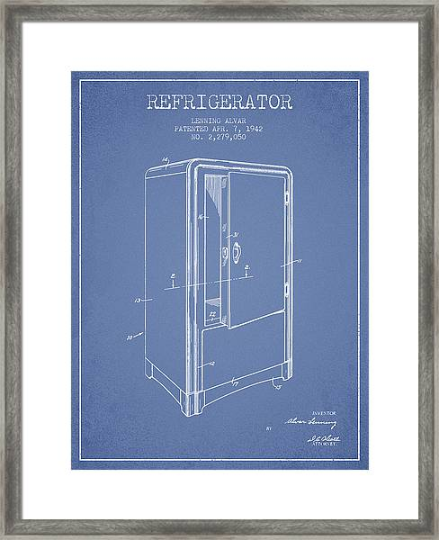 Refrigerator Patent From 1942 - Light Blue Framed Print
