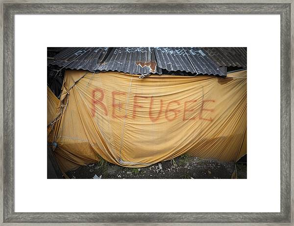 Refugee Tent In The Jungle Calais Framed Print by Phil Le Gal