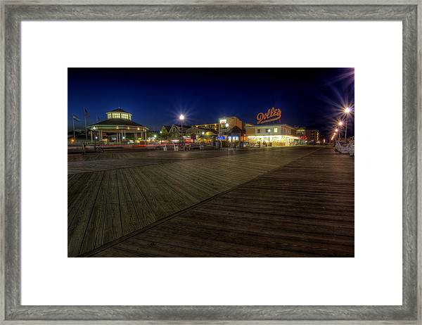Rehoboth Beach Boardwalk At Night Framed Print