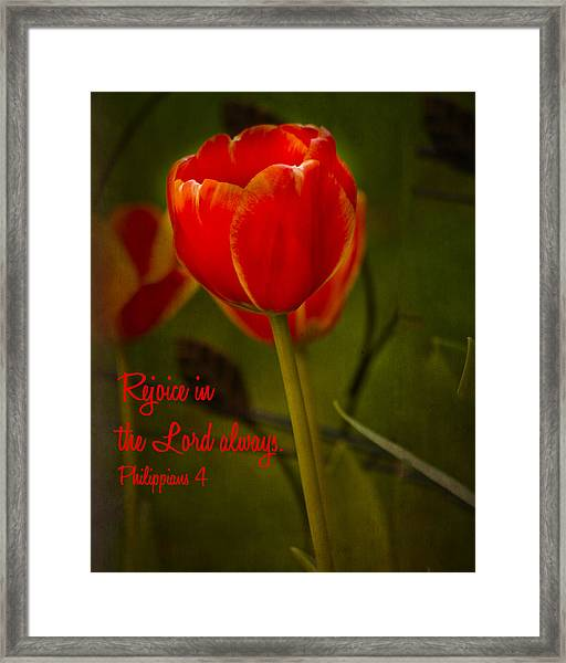 Rejoice In The Lord Framed Print