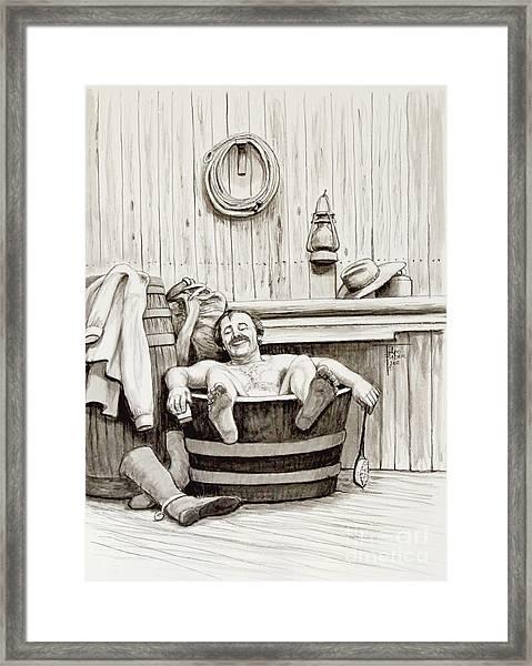 Relaxing Bath - 1890's Framed Print
