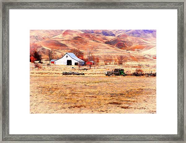 Reno Hillside Barn Framed Print