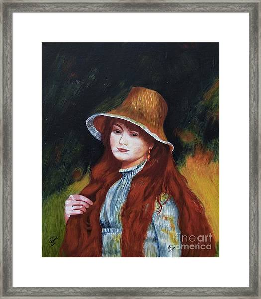 Renoir-young Girl In A Straw Hat Framed Print