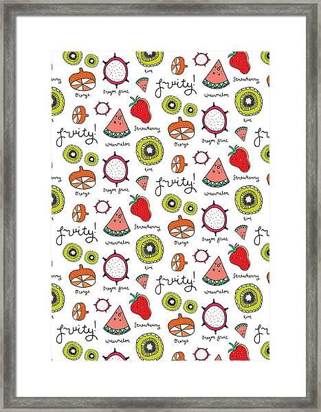Repeat Print - Fruits Framed Print