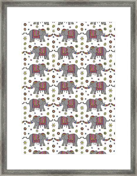 Repeat Print - Indian Elephant Framed Print