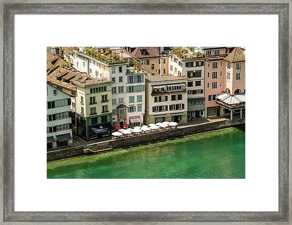 Residential†houses And River, Zurich Framed Print