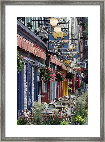 Restaurant Le Cochon Dingue In The Old Port Of Quebec City Framed Print