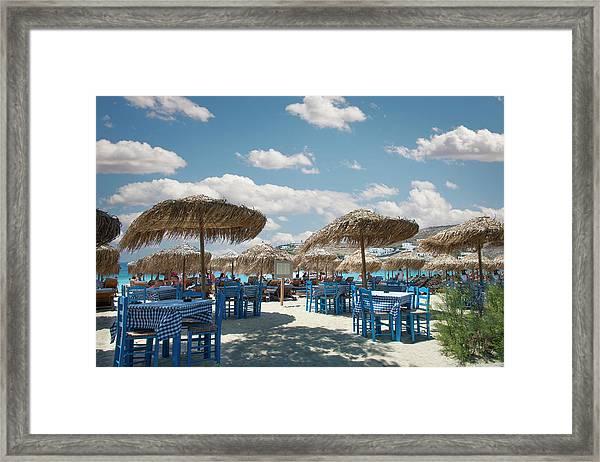Restaurant On The Beach, Mykonos Framed Print