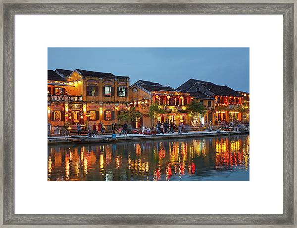 Restaurants Reflected In Thu Bon River Framed Print by David Wall