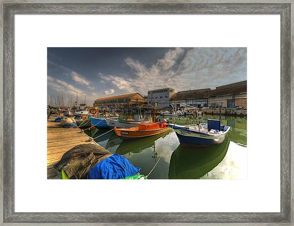 resting boats at the Jaffa port Framed Print