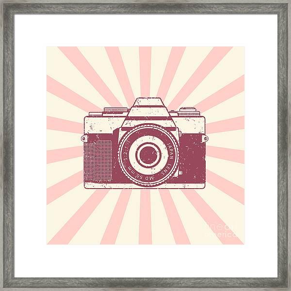 Retro Camera, Vintage Design, Vector Framed Print
