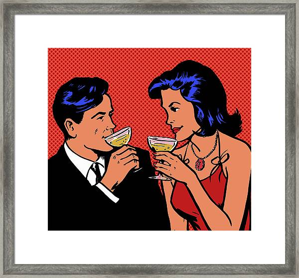 Retro Couple Drinking Champagne Framed Print by Jacquie Boyd