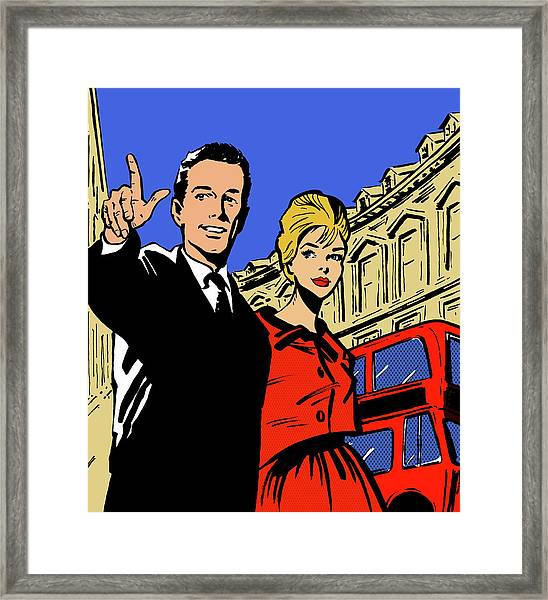 Retro Couple Sightseeing In London Framed Print