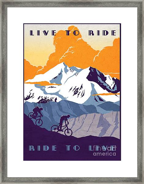retro cycling poster Live to Ride Ride to Live  Framed Print