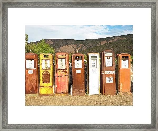 Retro Gas Pumps In Outdoor Museum Nm Framed Print