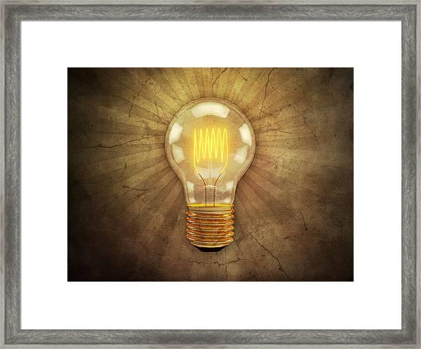 Retro Light Bulb Framed Print