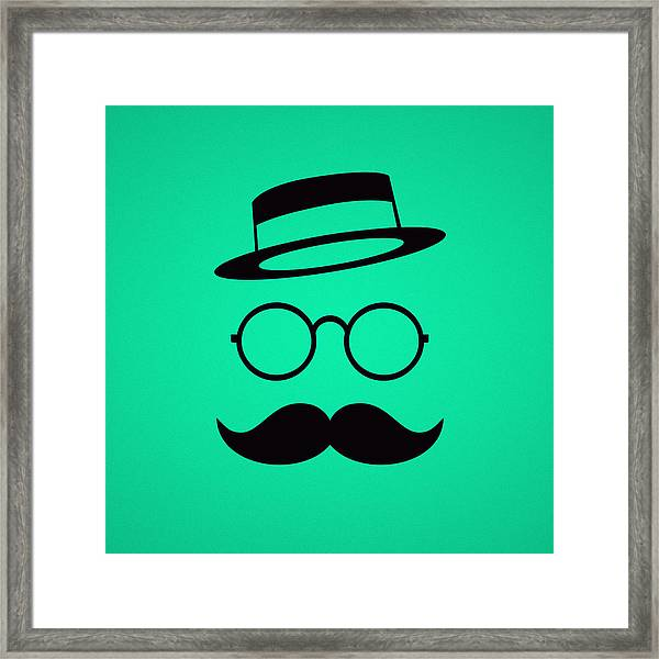 Retro Minimal Vintage Face With Moustache And Glasses Framed Print