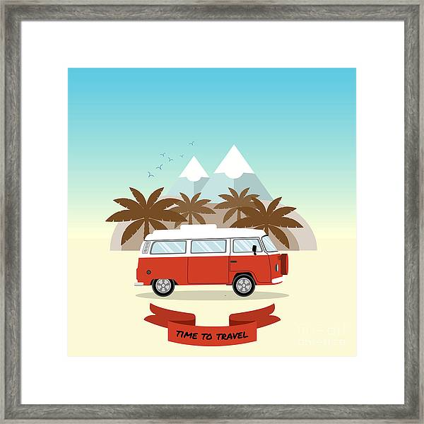 Retro Minivan With Palm Trees And Framed Print