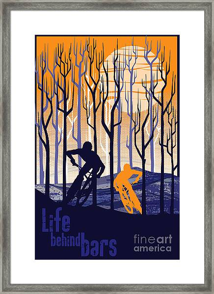 Retro Mountain Bike Poster Life Behind Bars Framed Print