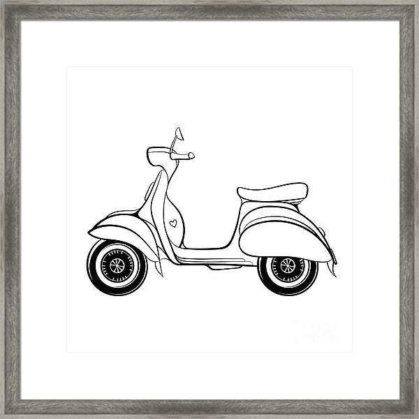 Retro Scooter Stylized In Doodle Style Framed Print