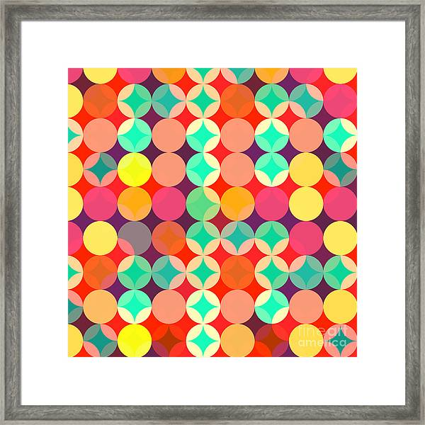 Retro Style Abstract Colorful Background Framed Print