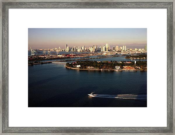 Retro Style Miami Skyline Sunrise And Biscayne Bay Framed Print