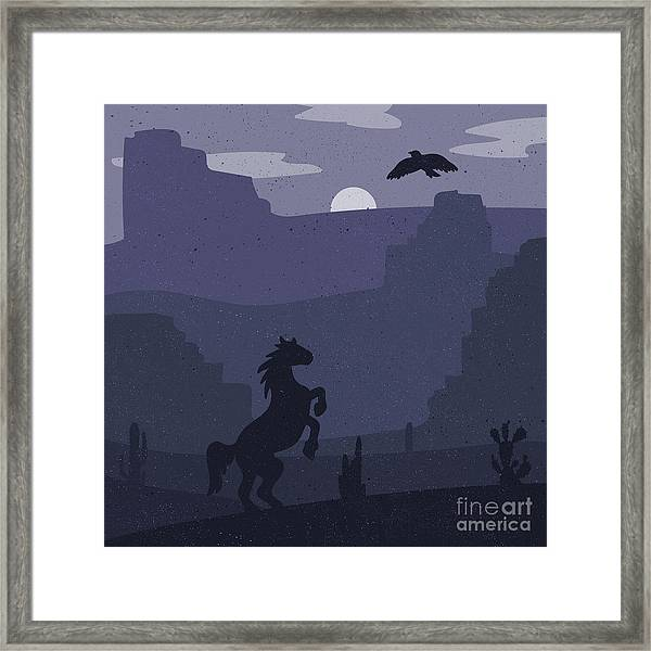 Retro Wild West Galloping Horse In Framed Print