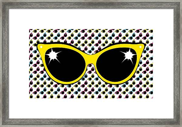 Retro Yellow Cat Sunglasses Framed Print