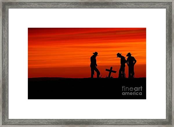 Cowboy Reverence Framed Print